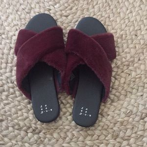 Shoes - A New Day Fuzzy Faux Fur Slides